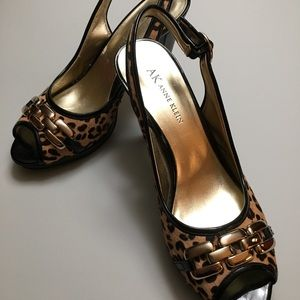 Anne Klein Animal Print Leather Heels  Size 7.5M